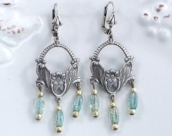 Silver Bohemian Earrings, Silver Boho Chic Earrings, Boho Chic Chandelier Earrings, Silver Boho Dangle Earrings, Best Friend Gift Earrings