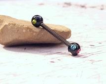 "Multi Colored Gem Barbell (14G 5/8"")"