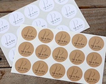 Personalized Monogram Stickers - for Envelope Seals, Wedding Favors or Invitations