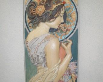 Mucha style art nouveau wall plaque