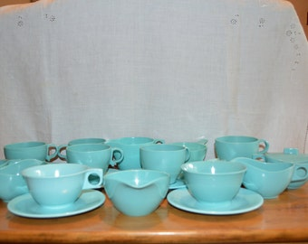 Eighteen (18) Assorted Pieces of Vintage MELMAC in Turquoise. Six CUPS, Seven Saucers, Three Creamers and Two Sugar Bowls (1) lid. Great!!