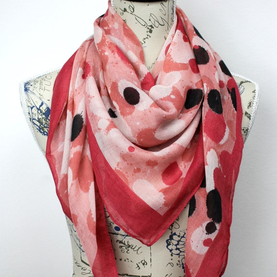 Polka Dots Scarf Pastel Pink Scarf Womens Fashion Scarf Spring Celebrations Gift for Mom Gift Wife Gift for Her Birthday Gift Unique Scarves