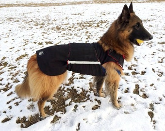 German Shepherd Winter Dog Coat with underbelly protection - Dog Raincoat - Waterproof / Fleece dog clothes - Custom made for your dog