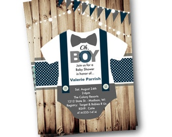 Onesie Baby Shower invitation boy bowtie bow tie suspenders rustic oh boy little man baby shower invite gray grey teal blue turquoise
