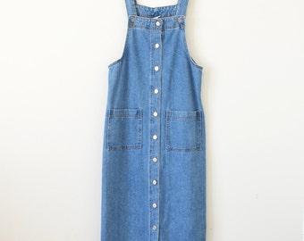 90s denim dress / jean jumper dress / maxi dress