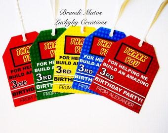 Lego birthday, Lego party, Lego Favor Tags, lego party favor tags, set of 12 favor tags, Lego theme favors, Lego theme favor tags!