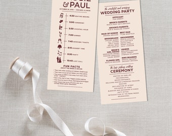 Infographic wedding program | Etsy