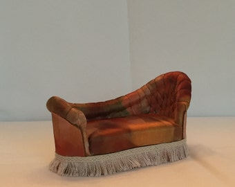 Dollhouse Miniature Elegant Sofa Lounge Handcrafted with Tufted back.