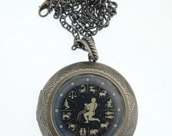 Aquarius Locket, Astrology Locket, Necklace, Aquarius Necklace, Aquarius Jewellery, Locket, water carrier, Jewelry, Jewellery