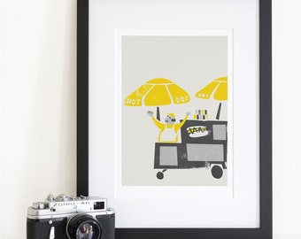 Hot Dog Cart Print, New York Wall Art, Kitchen Decor Ideas, Hot Dog Stand,  Mid Century Illustration, Mustard Yellow Poster, Birthday Gift