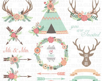 """Floral Tribal ClipArt """" FLORAL TEEPEE TENTS """"clip art.Floral Antlers,Teepee Tents,Wedding floral,Arrow,Wreath,Wedding Invitation Trb011"""