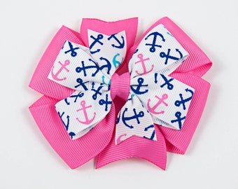 Nautical Hair Bow, Pink and Blue Hair Bow, Anchor Hair Bow, Beach Hair Bow,  Pink and Blue Nautical Hair Bow (Item #10178)