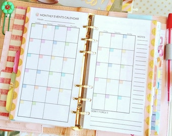 MONTHLY Personal Size Planner. Printable pdf 3.7x6.7 Filofax Medium undated organizer inserts and To Do. Instant Download.