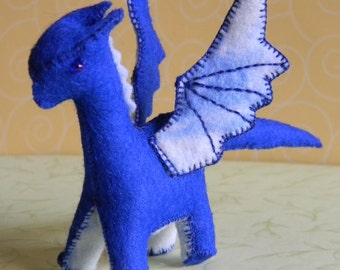 blue wool felt dragon