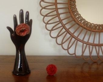 Ceramic hand door rings, jewelry, Bud vase, Vallauris, ceramic vintage
