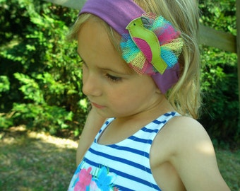 child baby parrot green tropical purple yellow pink headband