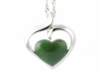 Canadian Nephrite Jade Pendant, Heart P0822