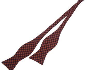 Mens Self Tie Bowtie.Orange And Navy Plaid Self Bow Ties. Self Bow Tie.Wedding Bowties.Groomsmen Self Bowtie.Silk Self Bowties.