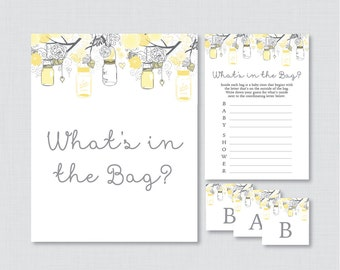 Mason Jar Baby Shower Bags Game Printable   Guess Whatu0027s In The Bag Game,  Yellow