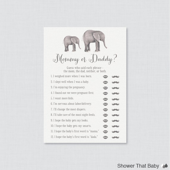 elephant mommy or daddy baby shower quiz gray elephant baby shower
