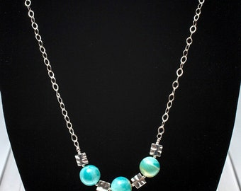 Aquamarine and silver necklace, chain necklace, gemstone necklace,