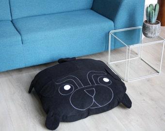 BLACK Pug pillow - dog bed - pouf - pugs - cute
