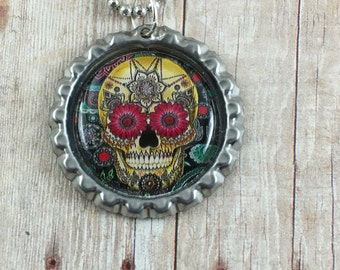 Sugar Skull Necklace - Day of the Dead Necklace - Skull Bottlecap Necklace - Bottlecap Pendant - Ball Chain Necklace - Skull Jewelry