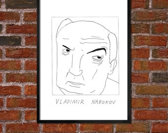 Badly Drawn Vladimir Nabokov Poster - *** BUY 4, GET A 5th FREE***
