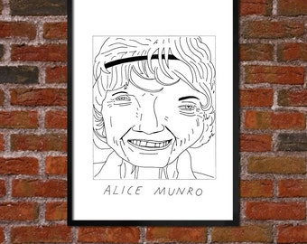 Badly Drawn Alice Munro - Literary Poster - *** BUY 4, GET A 5th FREE***