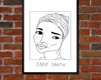 Badly Drawn Zadie Smith  - Literary Poster - *** BUY 4, GET A 5th FREE***