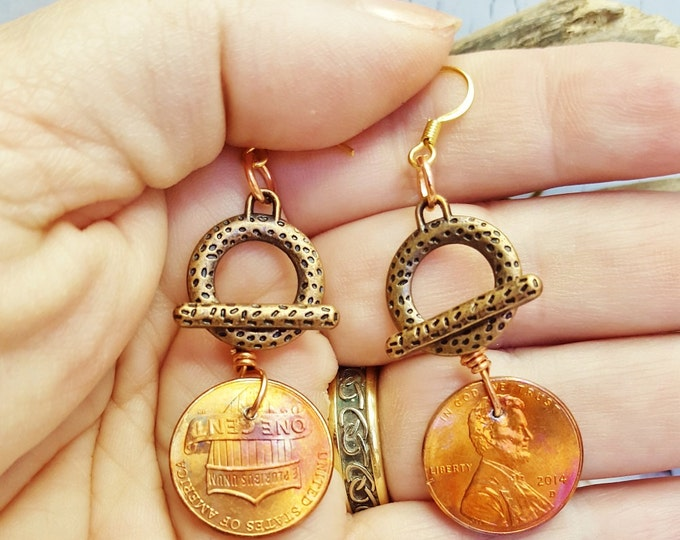 Torch Flamed Copper Penny Earrings ~ Real USA Penny Jewelry ~ Copper Anniversary Gift For Her ~ Stocking Stuffer, Gift For Co-Worker, Auntie