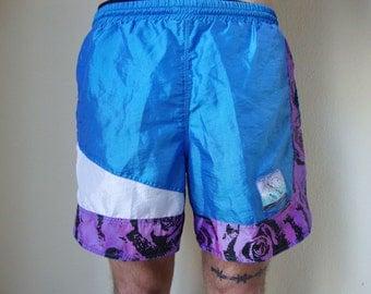 CYBER SHORTS -shiny, 90s, purple, blue, swimwear, vapor wave, club kid, color block, floral, surf, beach, summer, festival, sportswear-
