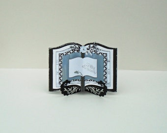 Bereavement Card, Handmade Book Card, With Sympathy Card, Condolence Card, Custom Made Card, Thinking Of You, Book Card and Stand,