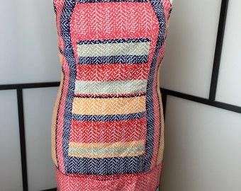 Multicolor Dotted Dress, Vintage Shift Dress, Pink and Blue Summer Dress, Plus Size