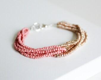 Pink and gold bracelet, seed bead loop bracelet, beaded bracelet, multistrand bracelet, blue and gold bracelet