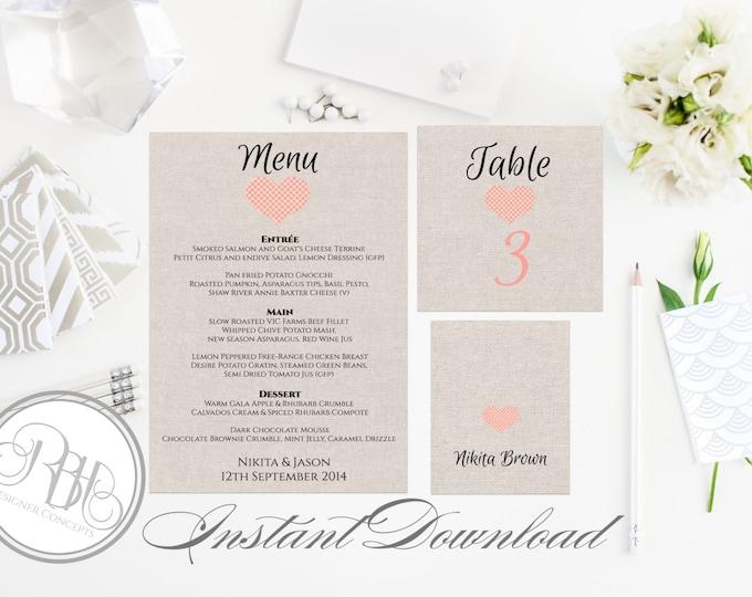 Rustic Burlap Wedding Menu, Table Number, PlaceCard Template-INSTANT DOWNLOAD-DIY Editable Text-Rustic Pink Heart Table Package-Rustic Kylie