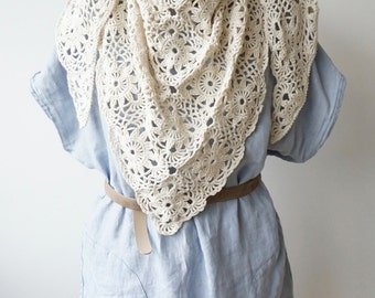 Triangle Scarf / Shawl / Ivory / Hand Crocheted / Evening Wrap / Triangular / Silk Cotton Lace Wrap