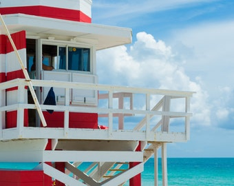 South Beach, Miami Ocean View-Travel Photography-Wall Art-Fine Art Print-Home Decor