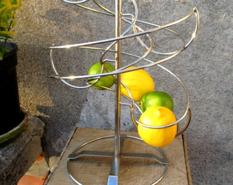 Spiral orange / fruit dispenser in chrome or stainless steel, 90s spiral fruit basket