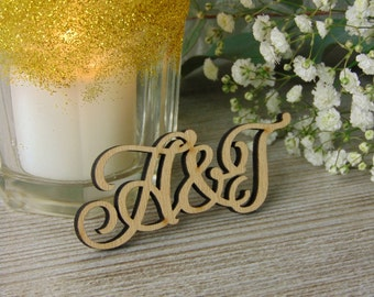Custom Wood Laser Cut Initials for your Invitations, Wedding Decor or Wedding Favors & Shower Gifts (Set of 10), Laser Cut Names, Wood Tags