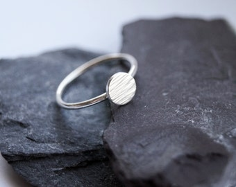 Hammered Disc Sterling Silver Ring ~ statement ring, hammered, modern, texture, disc, round, stacking ring, stackable