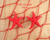 RESERVED for Luna !!! Please Do Not Purchase !!!!!!! STARFISH Retro Clip Earrings, in Red.