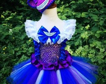 Cheshire kitty tutu dress/cheshire cat doll themed tutu dress/purple navy blue tutu dress