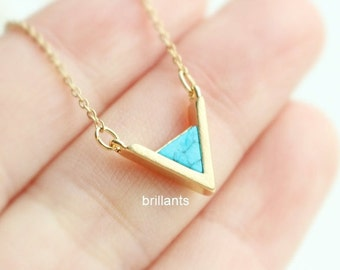 Chevron Turquoise necklace in gold, Blue stone necklace, Bridesmaid necklace, Everyday necklace, Bridesmaid gift