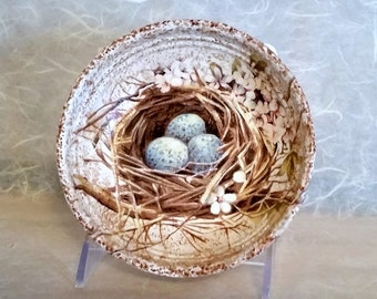 Decorative Wood Berry Bowl Featuring Bird Nest & Blue Eggs OOAK