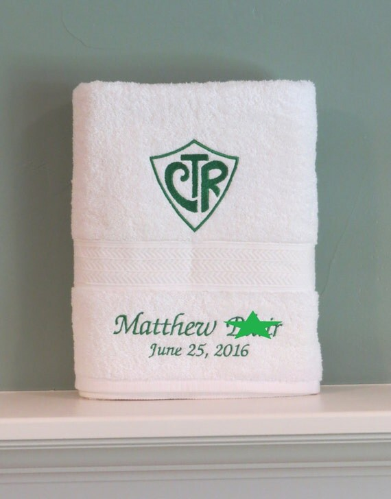 CTR Choose the Right Mormon baptism towel personalized LDS gift