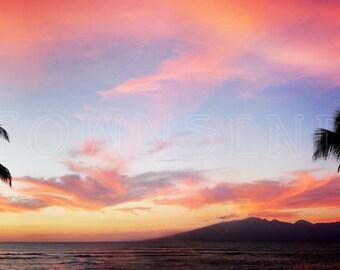 Hawaii, Sunset, Palm Trees, Beach, Panorama, Vibrant, Clouds, Sky, Ocean