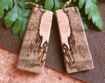 Unique Long Wood Earrings Spalted Hackberry Exotic Wood, handcrafted ExoticwoodJewelryAnd