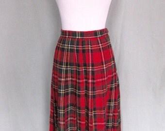Vintage Tartan Midi Skirt 1970s