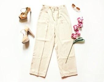 80s Palazzo Pants | Vintage Pants | Checkered High Waist Pants | Beige Trousers | Wide Leg Pants - Size M/L Medium Large